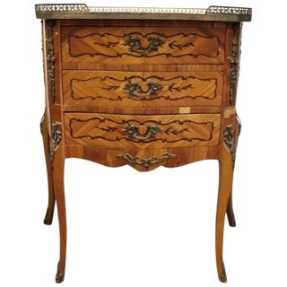 20th Century Italian Louis XV Antique Style Inlay Wood and Golden Bronzes Side Table For Sale
