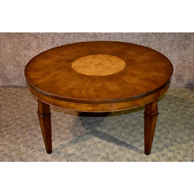 Vintage Old Colony Regency Style Inlaid Lazy Susan Cocktail Table For Sale - Image 11 of 13