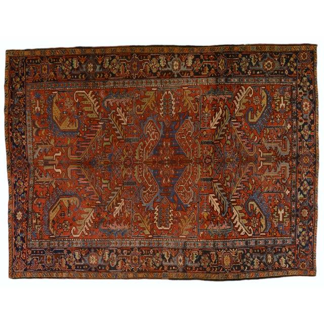 "Brown Vintage Persian Heriz Rug - 7'x9'4"" For Sale - Image 8 of 8"