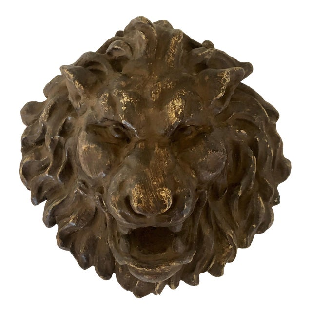 Early 1900s French Plaster Lion Head Plaque For Sale