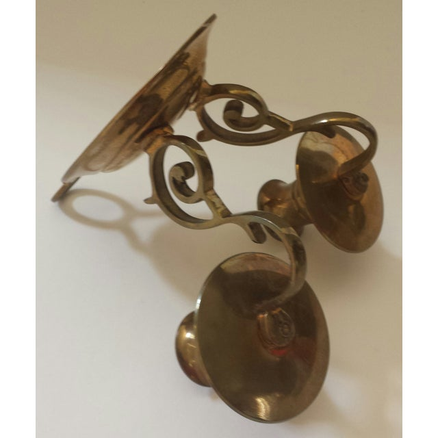 Gold Vintage 2 Candle Brass Sconce For Sale - Image 8 of 9