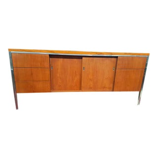 Mid-Century Modern Chrome and Wood Credenza