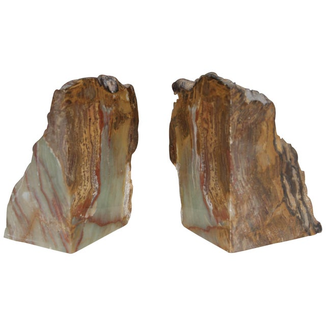 Brown Petrified Wood Bookends For Sale - Image 8 of 8