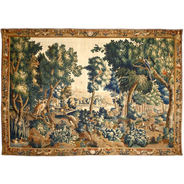 A palatial tapestry displaying a landscape with historic landmarks in the background. 14'x 20'