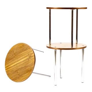 1960s Danish Modern Walnut + Chrome Round Nesting Table Set - Set of 3 For Sale
