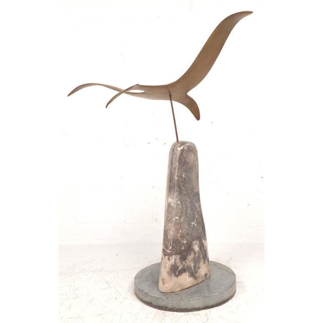 Mid-Century Modern Mid-Century Modern Style Brass and Marble Seagull Sculpture For Sale - Image 3 of 8