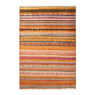 """Bohemian Hand-Knotted Area Rug 6' 2"""" x 8' 10"""" For Sale"""