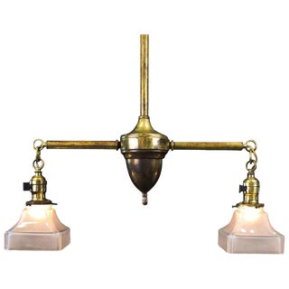Period American Arts and Crafts Brass Two Light Fixture For Sale