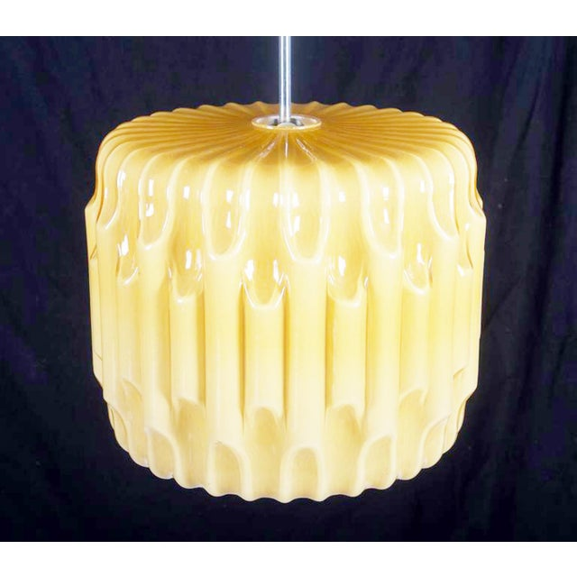 Large Mid-Century Glass Hanging Lamp, 1960s For Sale - Image 6 of 8