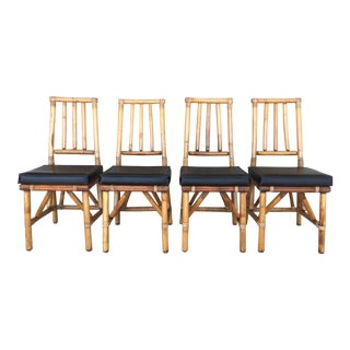 Mid-Century Bamboo Side Chairs - Set of 4
