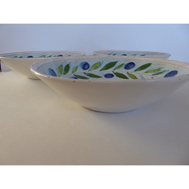 Vintage Blue/Green Italian Hand Crafted Serving Bowls - Set of 3 For Sale - Image 5 of 8