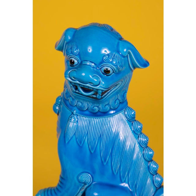 Hollywood Regency Oversize Pair of Vintage Turquoise Foo Dogs For Sale - Image 3 of 10