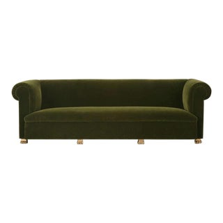 Custom French Sofa with Gold-Plated Feet For Sale