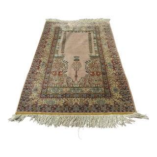 1970s Turkish Silk on Silk Kayseri Rug Carpet For Sale