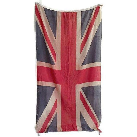Textile Mid Century Modern Union Jack Flag Distressed Uk British Flag 8 Ft For Sale - Image 7 of 9