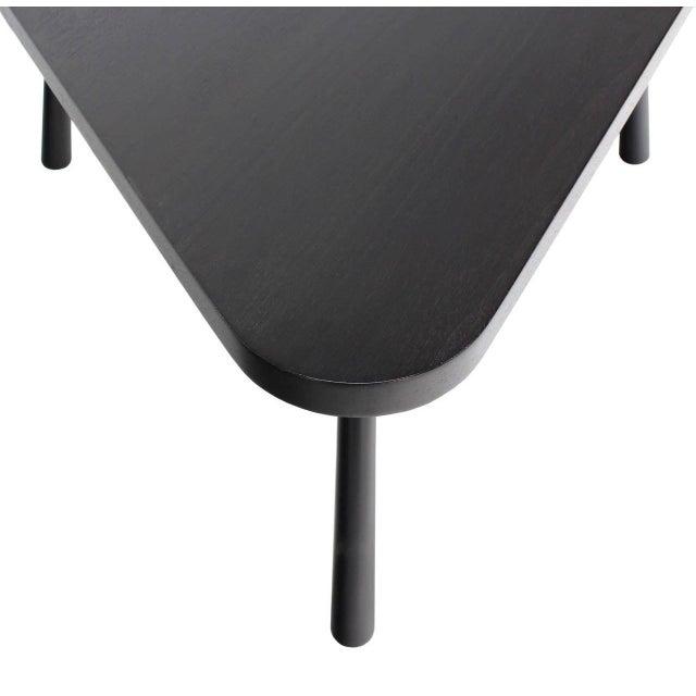 John Widdicomb Gibbings Black Lacquer Triangular Coffee Table For Sale - Image 4 of 8