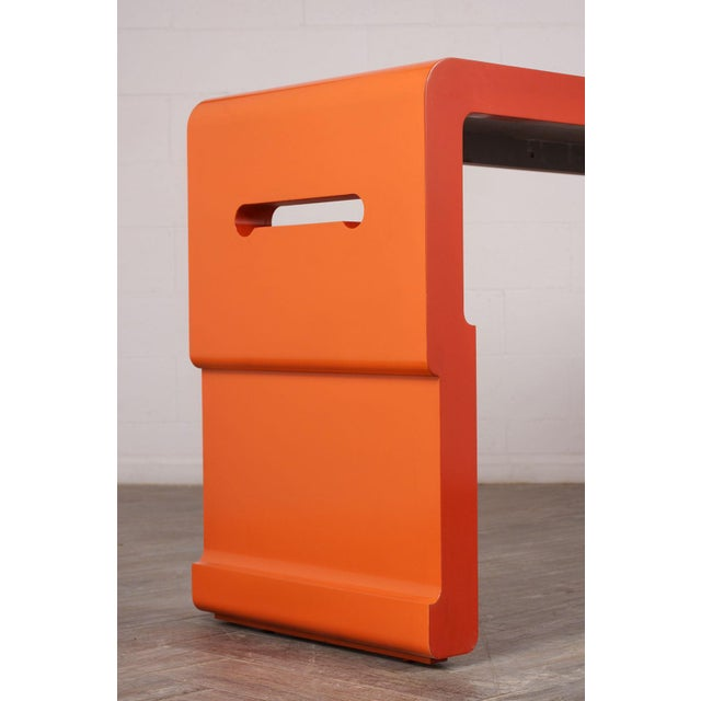 Chinese Console Table With Orange Lacquered Finish For Sale In Los Angeles - Image 6 of 7