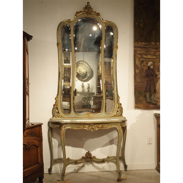 Late 19th Century Antique Painted Console Table and Mirror from Italy, Circa 1880 For Sale - Image 5 of 11