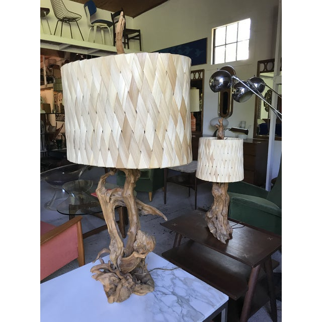 """50"""" Tall Monumental Driftwood Lamp Original Woven Shade For Sale - Image 9 of 10"""