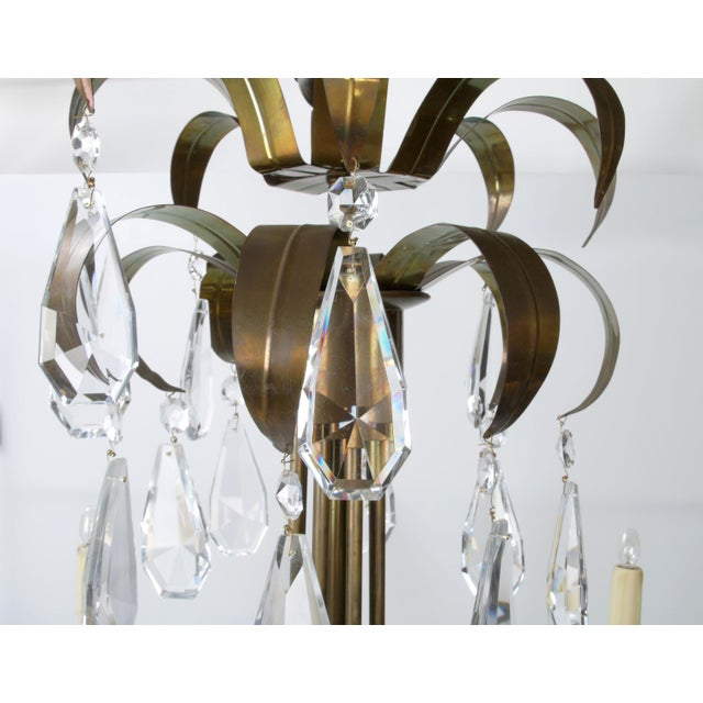 Brass Palm Leaf Chandelier - Image 5 of 10