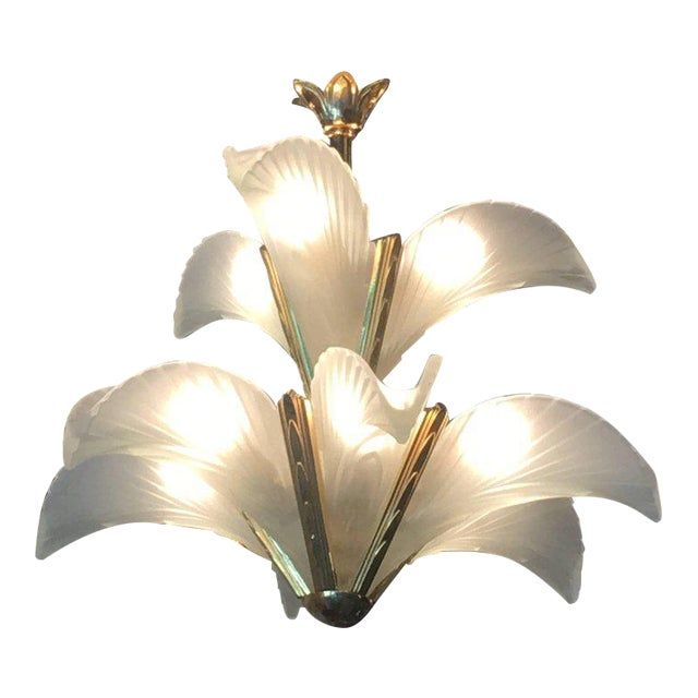 Italian Murano Glass & Brass Palm Tree Frond Leaf Chandelier - Image 12 of 12