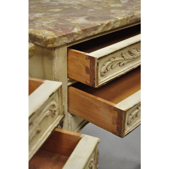 1950s 1950s French Louis XV Marble Top Nightstands - a Pair For Sale - Image 5 of 11