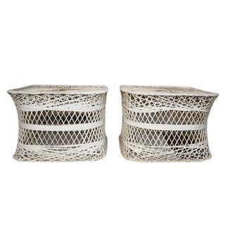 Hollywood Regency Russell Woodard Spun Fiber Side Drink Tables or Patio Tables - a Pair For Sale
