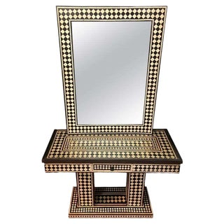 Art Deco Style Black and White Console Table and Mirror in Diamond Pattern For Sale