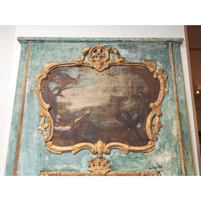 Louis XIV Regence Trumeau with a Landscape Painting with Birds For Sale - Image 3 of 8