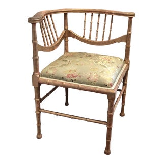 1900s Vintage Faux Bamboo Silk Corner Chair For Sale