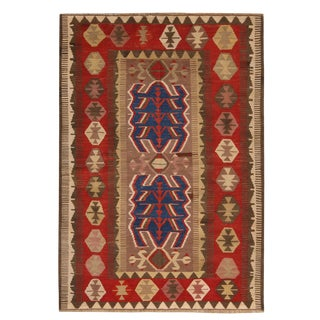 Vintage Mid-Century Obruk Beige-Brown and Red Wool Kilim Rug- 4′1″ × 6′ For Sale