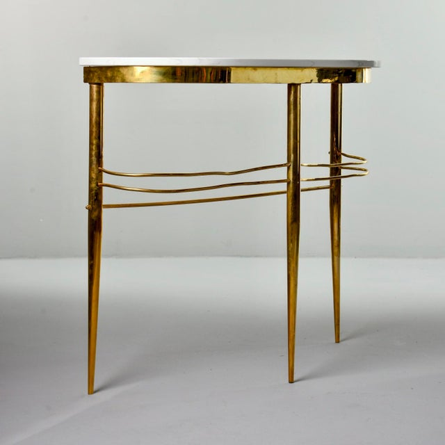 Italian Mid Century Italian Brass Demilune Console With White Marble Top For Sale - Image 3 of 12