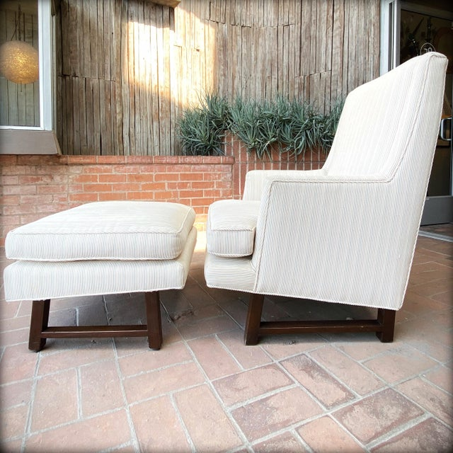 Mid-Century Modern 1960s Edward Wormley for Dunbar Lounge Chair and Ottoman For Sale - Image 3 of 7