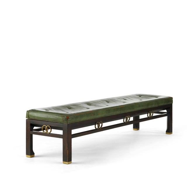 Metal Vintage Michael Taylor for Baker Furniture Green Leather Bench For Sale - Image 7 of 7