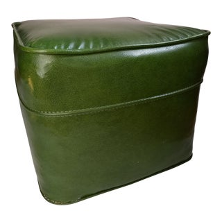 1960's Vintage Green Vinyl Square Ottoman For Sale