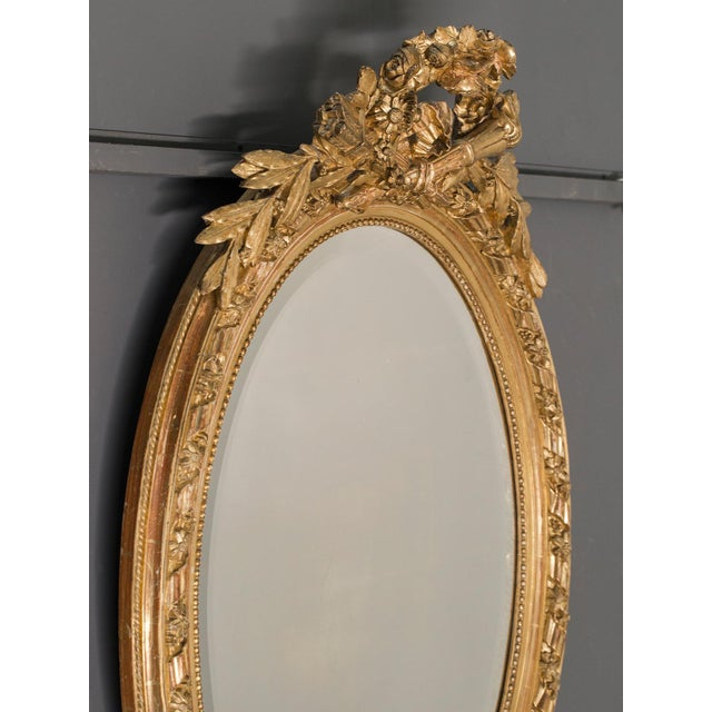 Antique French Louis XVI Style Oval Mirror circa 1890 - Image 7 of 8