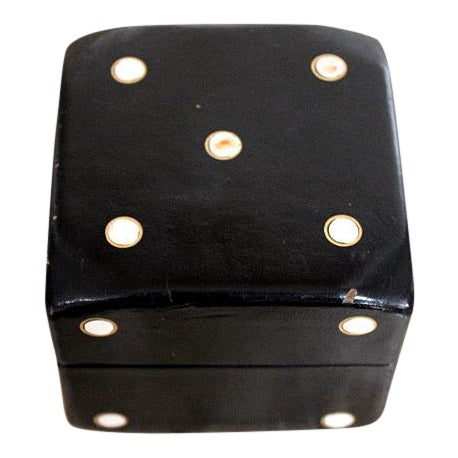 Vintage Leather Covered Dice Box For Sale