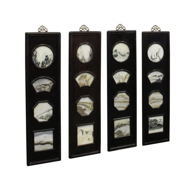 Chinese Rosewood Dream Stone Scenery Wall Panel Set 4 Pieces For Sale In San Francisco - Image 6 of 8