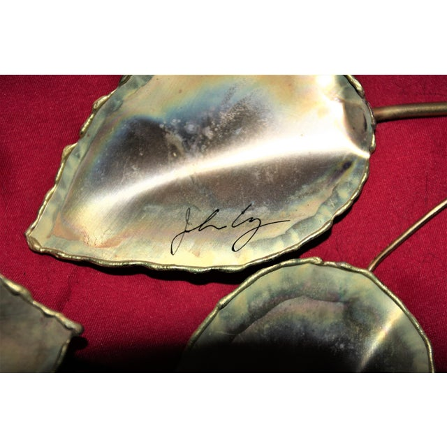 Pink Mid-Century Modern Brass Enameled Floral Signed Wall Art - a Pair For Sale - Image 8 of 9