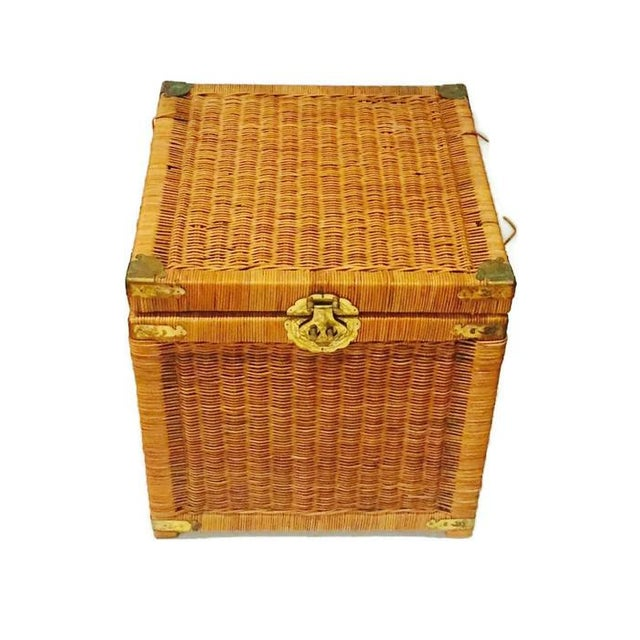 Vintage Rattan Cube End Table/Box - Image 4 of 6