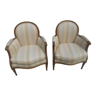 Baker Louis XVI Bergere Chairs- a Pair For Sale