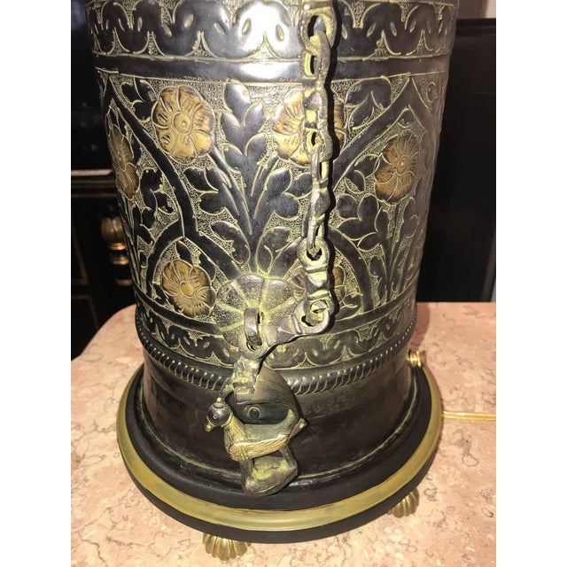Asian Pair of Custom Quality Vintage Brass and Metal Floral Design Urn Table Lamps For Sale - Image 3 of 13