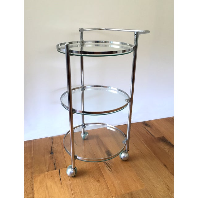 Chrome and Glass 1970s Bar Cart - Image 2 of 5