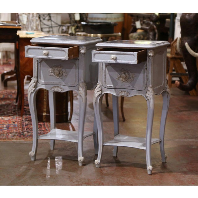 Pair of 19th Century French Louis XV Carved Painted Nightstands With Marble Top For Sale In Dallas - Image 6 of 12
