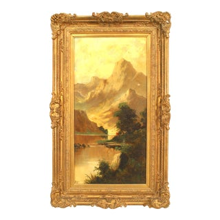 English Victorian Landscape of Mountains and Stream For Sale