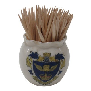 Antique Toothpick Ceramic Holder With Crest For Sale