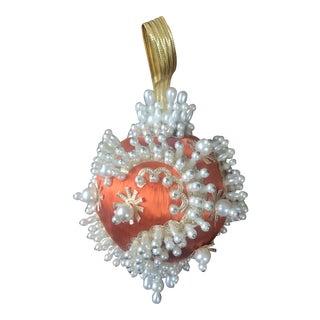 1950s Mid Century Beaded Fancy Christmas Ornament - Orange White For Sale