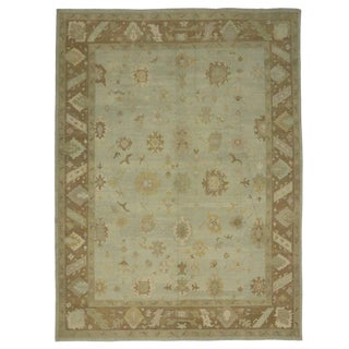 Contemporary Turkish Oushak Rug With Earth-Tones, 12'05 X 16'07 For Sale
