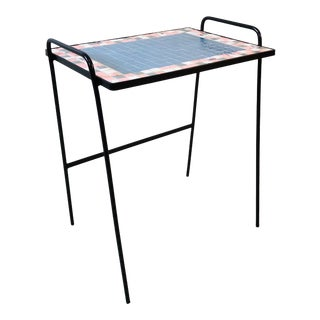 1950s Pink & Blue Tile Side Accent Table For Sale