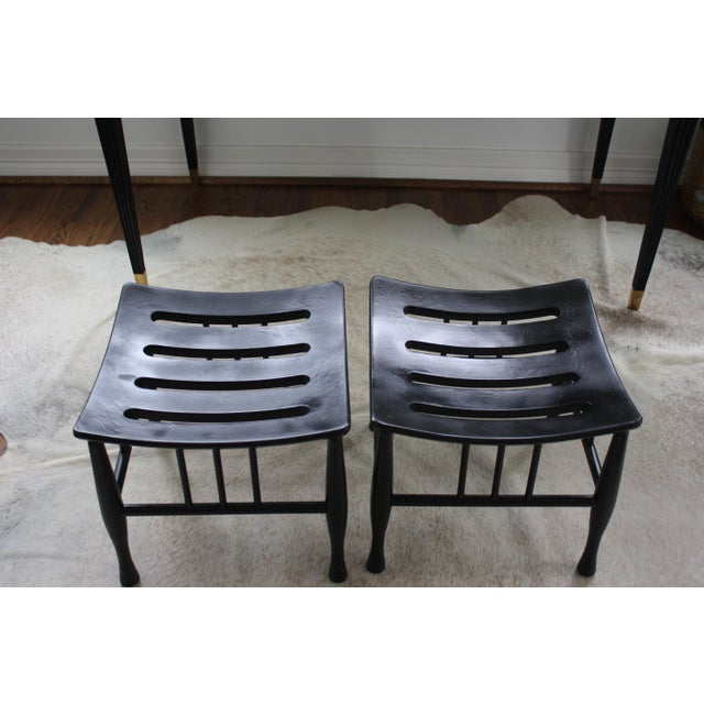 Antique Pair of Black Thebes Liberty & Co Style Arts and Crafts Stools For Sale In Dallas - Image 6 of 13